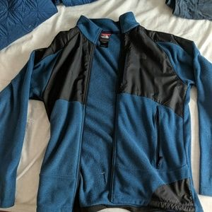 Men's Blue and black Northface fleece jacket.